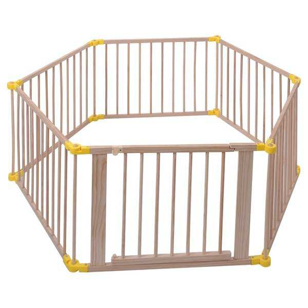 Costway Baby Playpen 6 Panel Foldable Wooden Frame Kids Safety Play Fence In/Outdoor - Wood