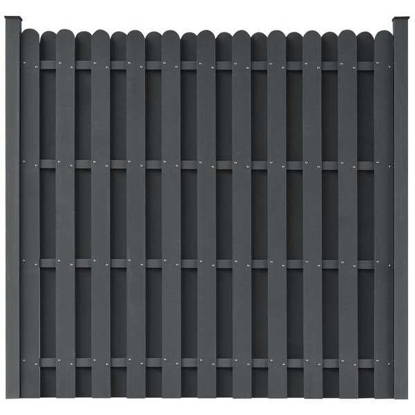 vidaXL WPC Fence Panel with 2 Posts 180x180 cm Square Grey