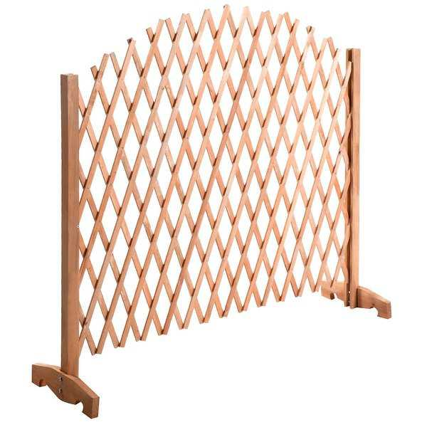 Costway Expanding Portable Fence Wooden Screen Dog Gate Pet Safety Kid Patio Garden Lawn - N/A