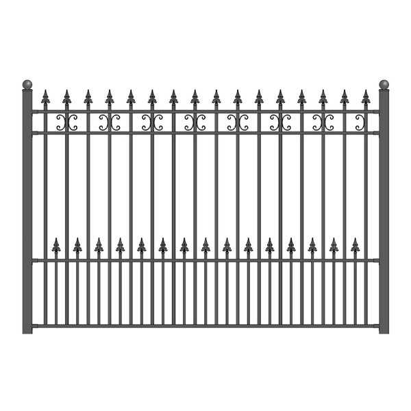 ALEKO St. Petersburg Style Ornamental Iron Wrought Garden Fence 8'x5' Black